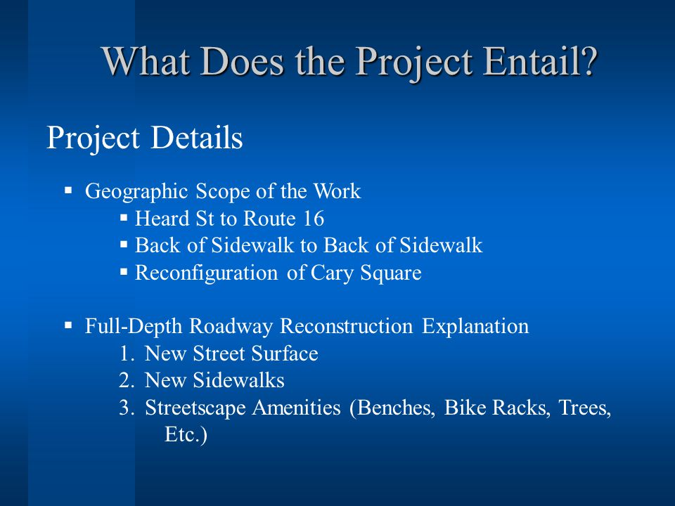 What Does the Project Entail.