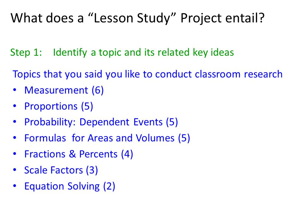 What does a Lesson Study Project entail.