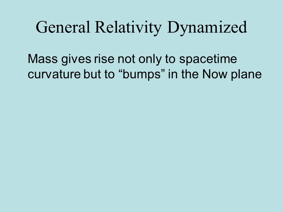 Special Relativity Dynamized The speed of light/gravity is more basic than space and time Because the gravitational/electromagnetic interaction precedes the relative positioning of events.