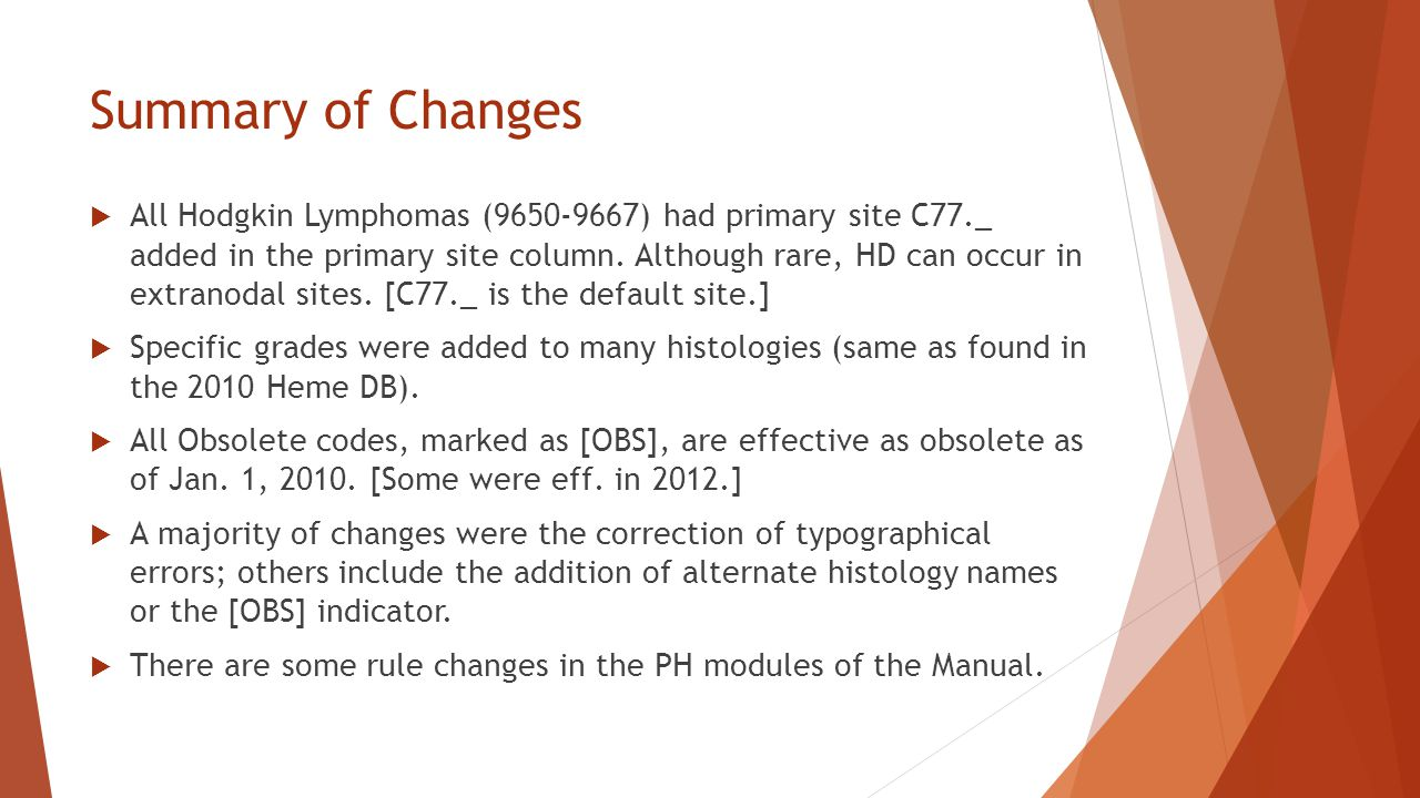 Summary of Changes  All Hodgkin Lymphomas (9650-9667) had primary site C77._ added in the primary site column.