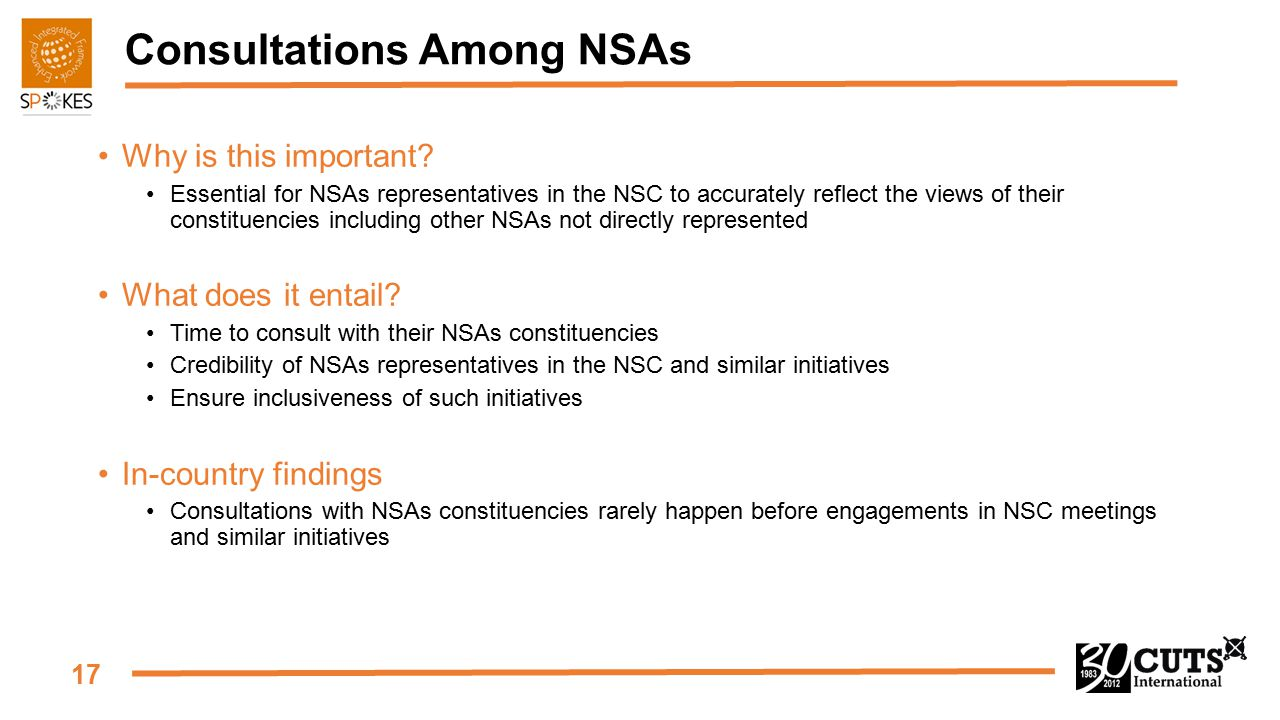 17 Consultations Among NSAs Why is this important? Essential for NSAs representatives in the NSC to accurately reflect the views of their constituenci