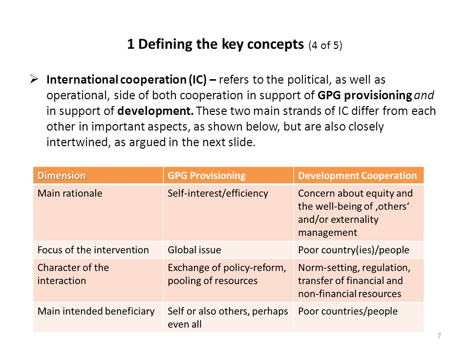 1 Defining the key concepts (4 of 5)  International cooperation (IC) – refers to the political, as well as operational, side of both cooperation in support of GPG provisioning and in support of development.