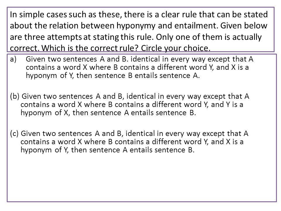 In simple cases such as these, there is a clear rule that can be stated about the relation between hyponymy and entailment. Given below are three atte