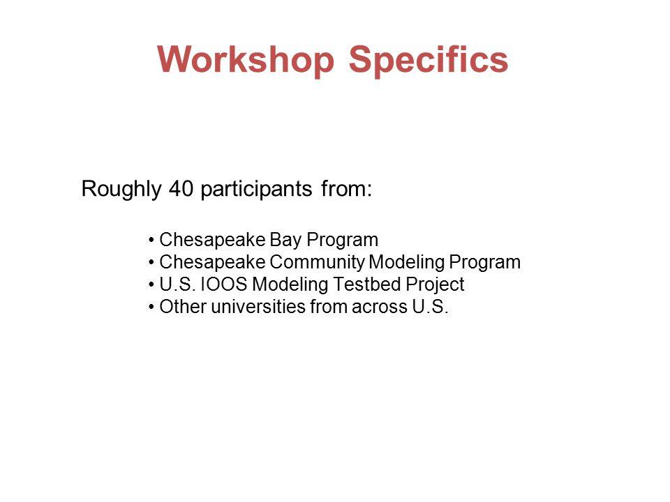 Roughly 40 participants from: Chesapeake Bay Program Chesapeake Community Modeling Program U.S.