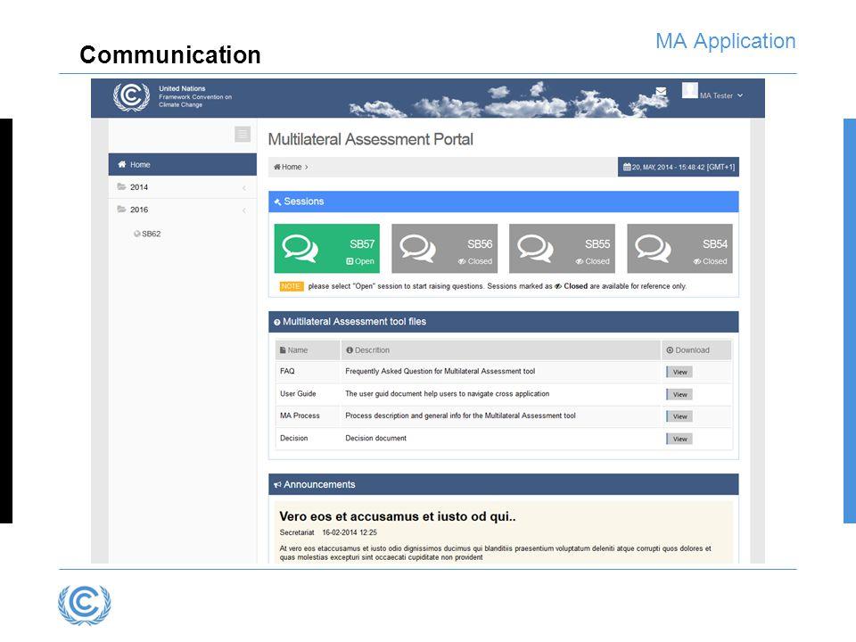MA Application Communication
