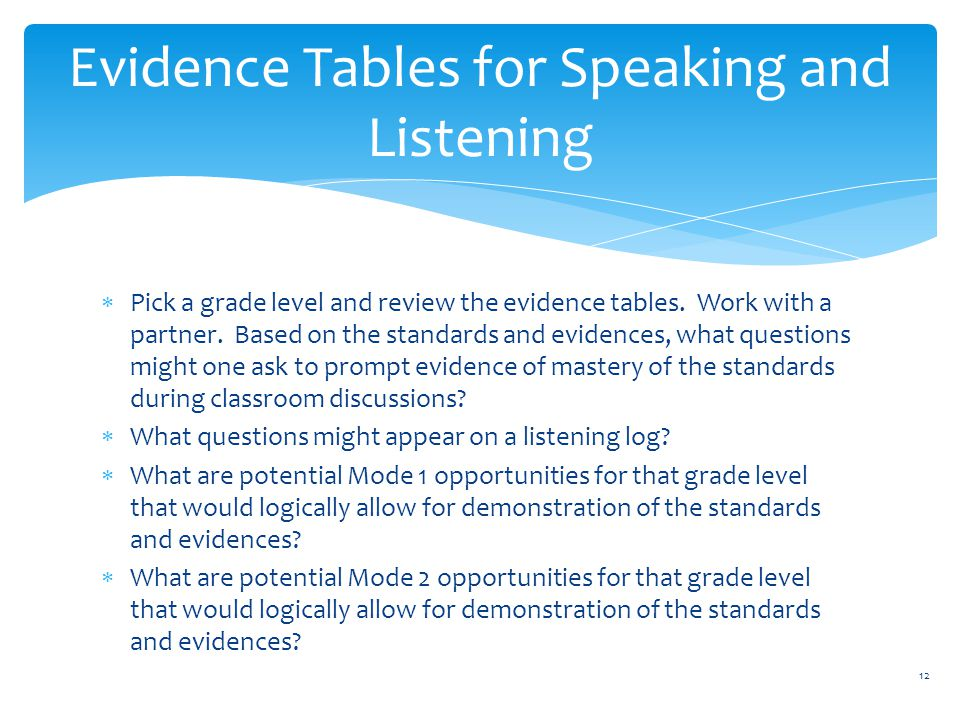  Pick a grade level and review the evidence tables.