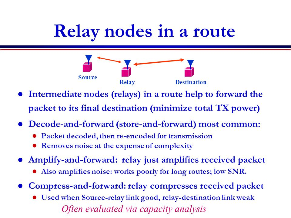 Relay nodes in a route Intermediate nodes (relays) in a route help to forward the packet to its final destination (minimize total TX power) Decode-and-forward (store-and-forward) most common: Packet decoded, then re-encoded for transmission Removes noise at the expense of complexity Amplify-and-forward: relay just amplifies received packet Also amplifies noise: works poorly for long routes; low SNR.