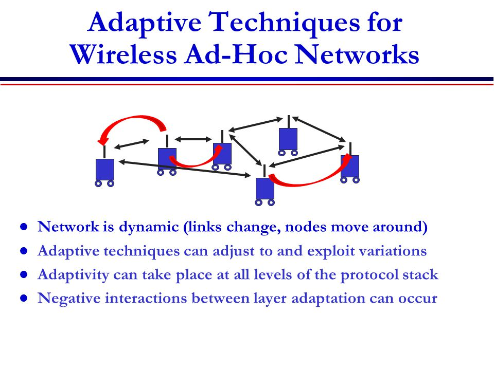 Adaptive Techniques for Wireless Ad-Hoc Networks Network is dynamic (links change, nodes move around) Adaptive techniques can adjust to and exploit variations Adaptivity can take place at all levels of the protocol stack Negative interactions between layer adaptation can occur