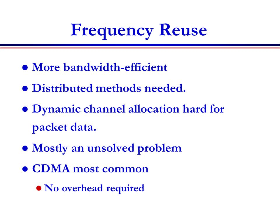 DS Spread Spectrum Reuse: Code Assignment Common spreading code for all nodes Collisions occur whenever receiver can hear two or more transmissions.