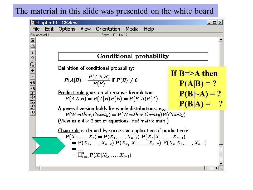 If B=>A then P(A|B) = ? P(B|~A) = ? P(B|A) = ? The material in this slide was presented on the white board