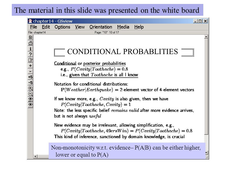 CONDITIONAL PROBABLITIES Non-monotonicity w.r.t. evidence– P(A|B) can be either higher, lower or equal to P(A) The material in this slide was presente