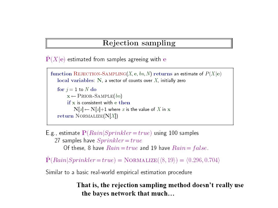 That is, the rejection sampling method doesn't really use the bayes network that much…