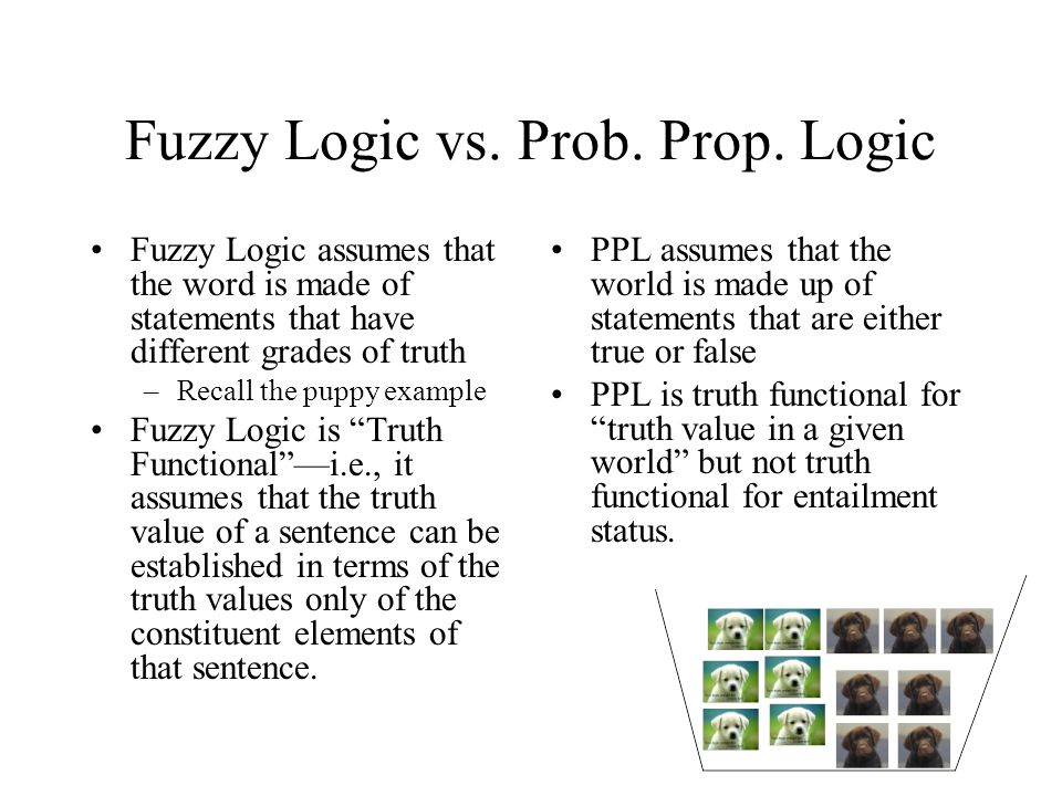 Fuzzy Logic vs. Prob. Prop. Logic Fuzzy Logic assumes that the word is made of statements that have different grades of truth –Recall the puppy exampl