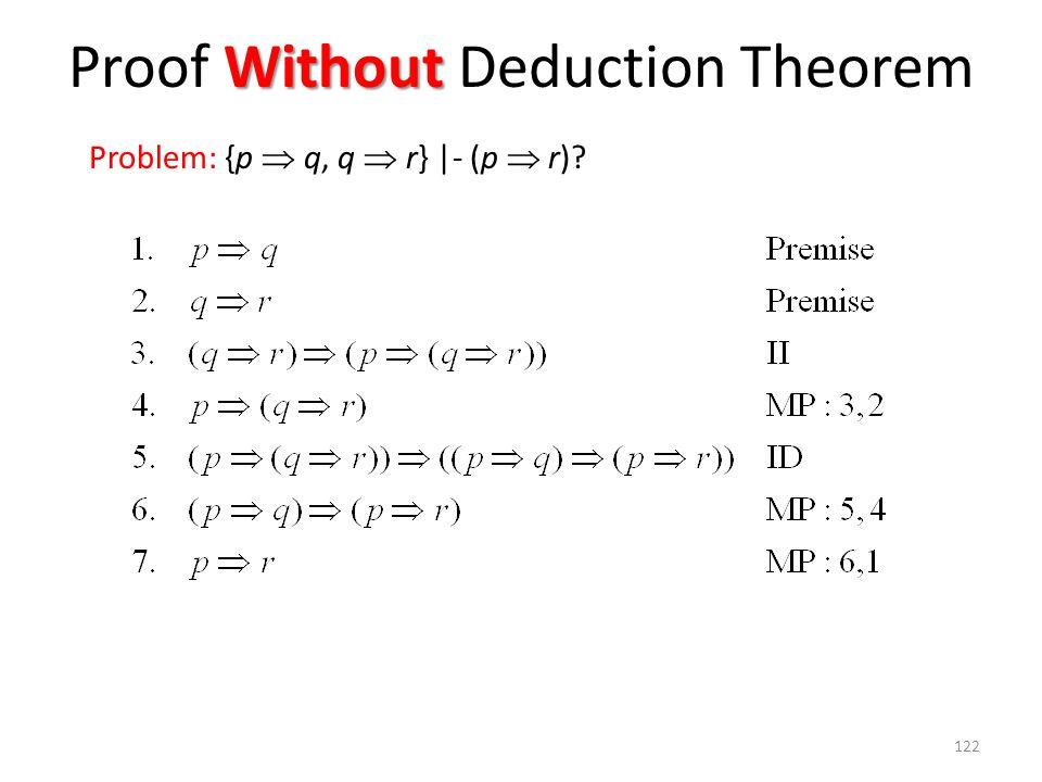 122 Without Proof Without Deduction Theorem Problem: {p  q, q  r} |- (p  r)?