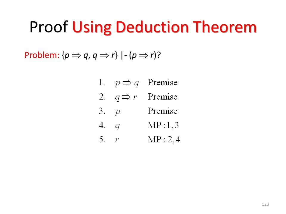 123 Using Deduction Theorem Proof Using Deduction Theorem Problem: {p  q, q  r} |- (p  r)?