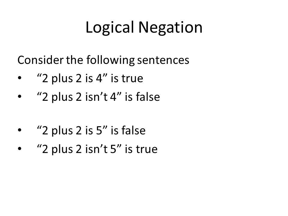 "Logical Negation Consider the following sentences ""2 plus 2 is 4"" is true ""2 plus 2 isn't 4"" is false ""2 plus 2 is 5"" is false ""2 plus 2 isn't 5"" is t"