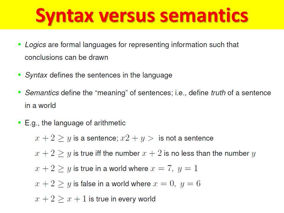 Syntax versus semantics