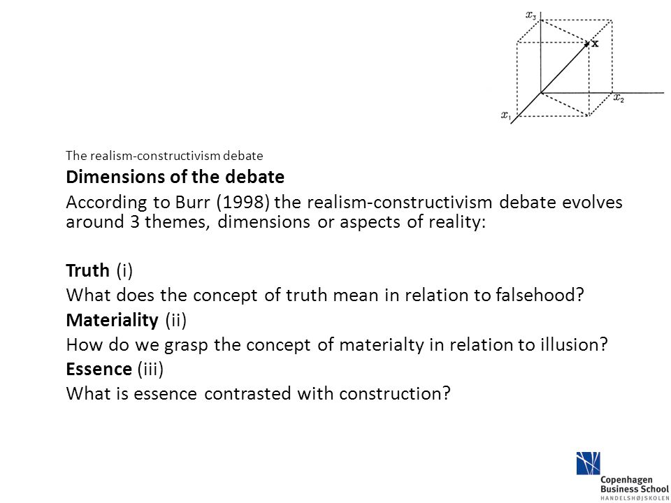 The realism-constructivism debate Dimensions of the debate According to Burr (1998) the realism-constructivism debate evolves around 3 themes, dimensi