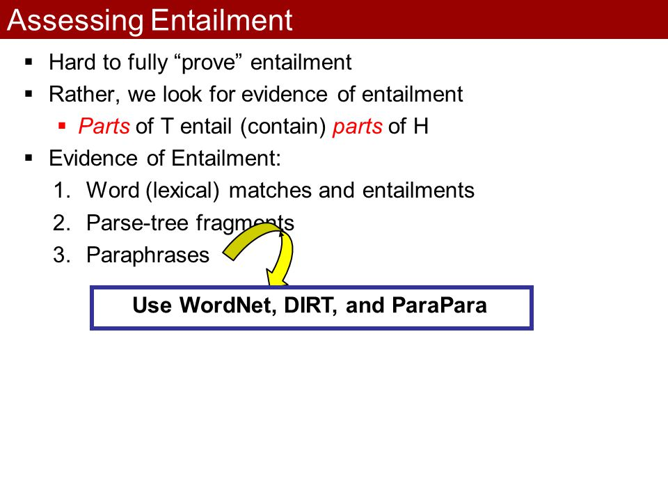 Assessing Entailment  Hard to fully prove entailment  Rather, we look for evidence of entailment  Parts of T entail (contain) parts of H  Evidence of Entailment: 1.Word (lexical) matches and entailments 2.Parse-tree fragments 3.Paraphrases Use WordNet, DIRT, and ParaPara