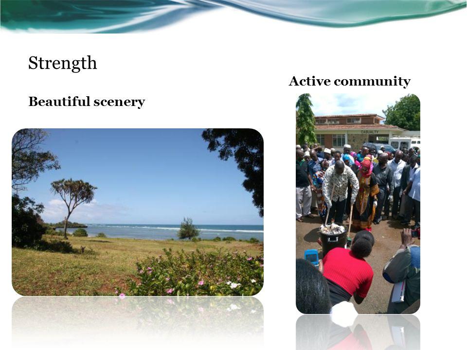 Strength Beautiful scenery Active community