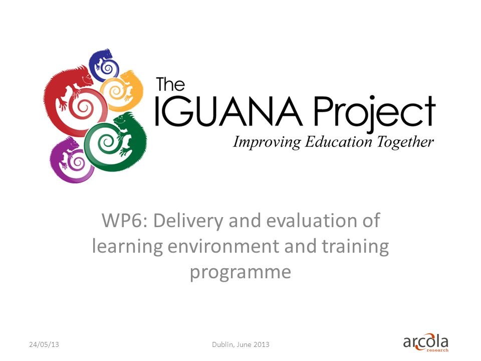WP6: Delivery and evaluation of learning environment and training programme Dublin, June 201324/05/13