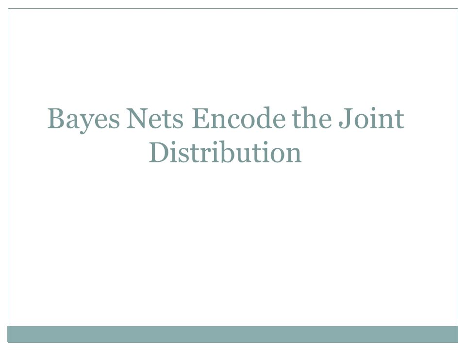 Bayes Nets Encode the Joint Distribution