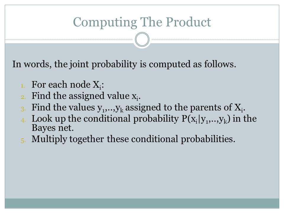 Computing The Product In words, the joint probability is computed as follows.