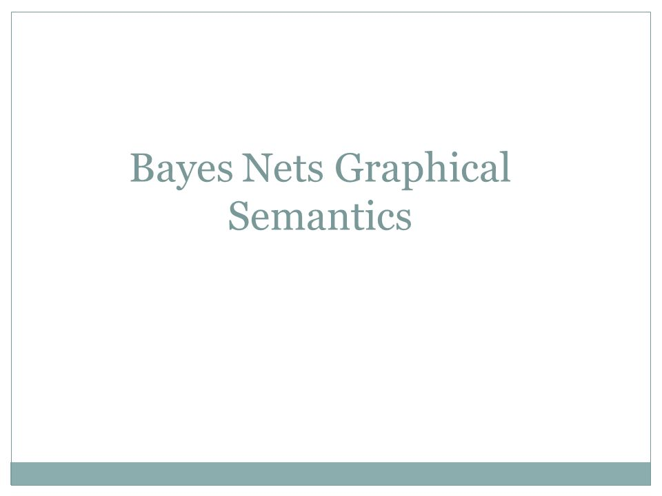 Bayes Nets Graphical Semantics