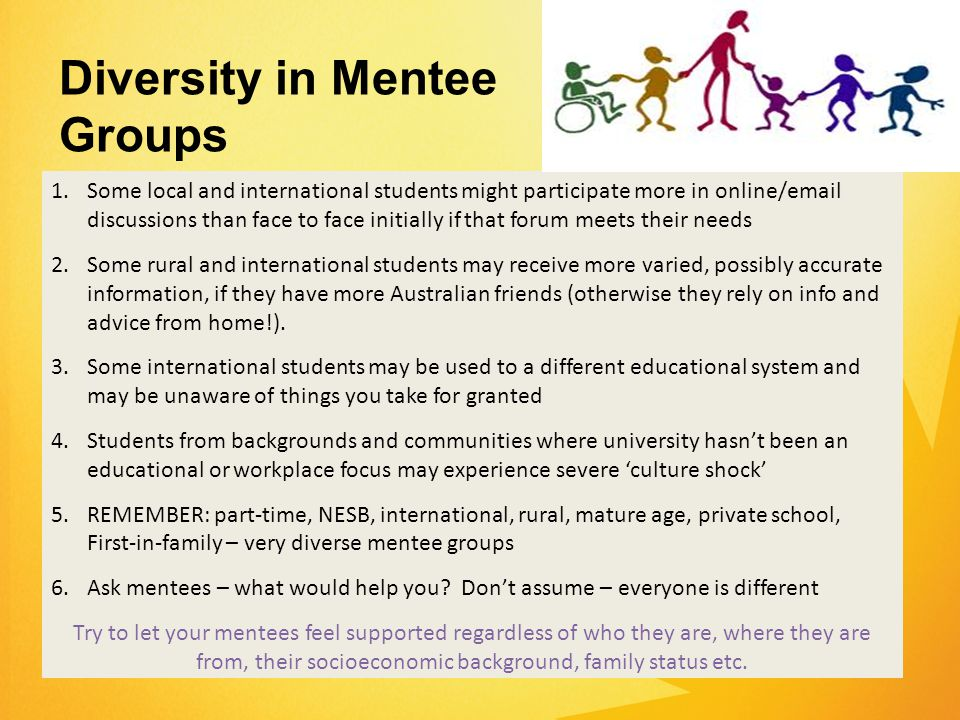 1.Some local and international students might participate more in online/email discussions than face to face initially if that forum meets their needs 2.Some rural and international students may receive more varied, possibly accurate information, if they have more Australian friends (otherwise they rely on info and advice from home!).