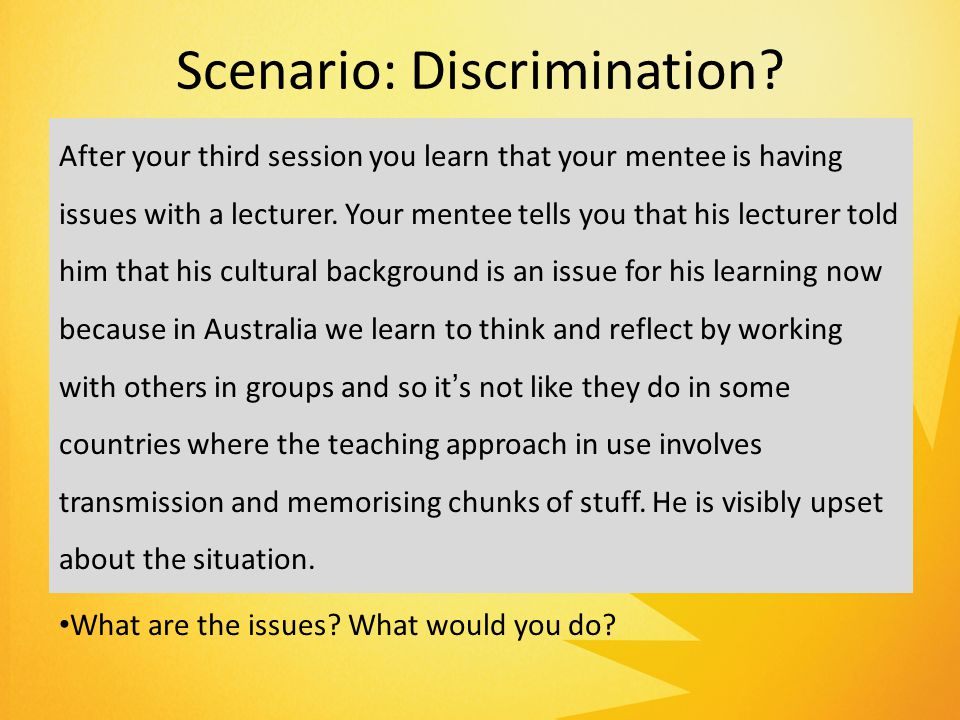 Scenario: Discrimination.
