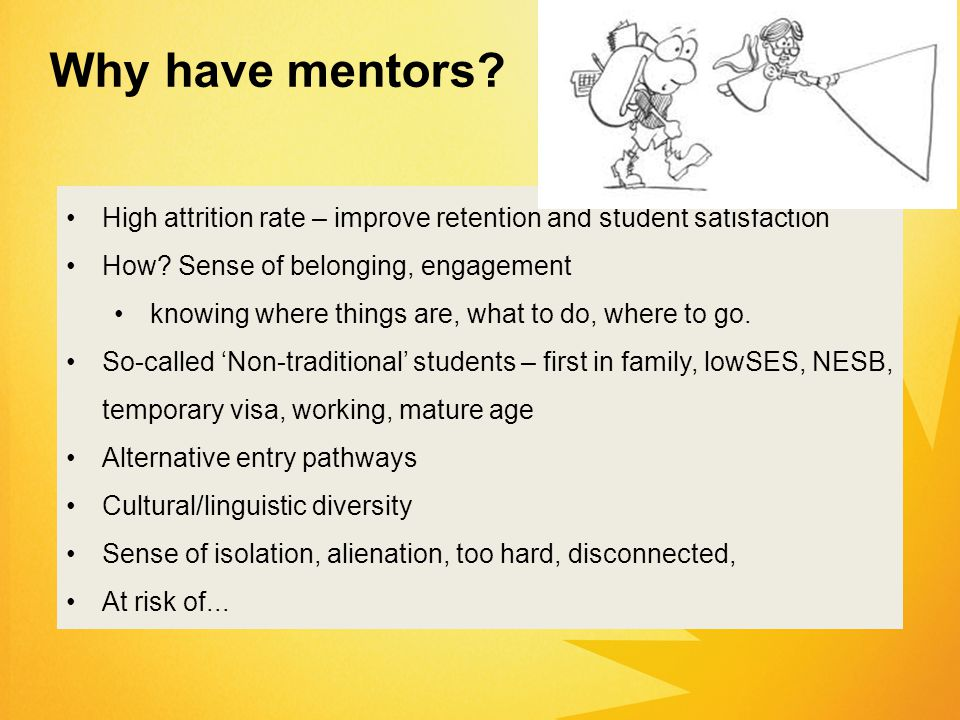 Why have mentors. High attrition rate – improve retention and student satisfaction How.