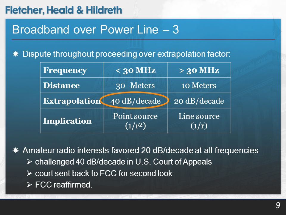 Broadband over Power Line – 3  Dispute throughout proceeding over extrapolation factor:  Amateur radio interests favored 20 dB/decade at all frequencies  challenged 40 dB/decade in U.S.
