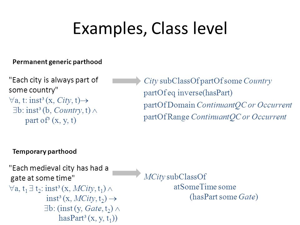 Examples, Class level Each city is always part of some country  a, t: inst³ (x, City, t)   b: inst³ (b, Country, t)  part of³ (x, y, t) Each medieval city has had a gate at some time  a, t 1  t 2 : inst³ (x, MCity, t 1 )  inst³ (x, MCity, t 2 )   b: (inst (y, Gate, t 2 )  hasPart³ (x, y, t 1 )) City subClassOf partOf some Country partOf eq inverse(hasPart) partOf Domain ContinuantQC or Occurrent partOf Range ContinuantQC or Occurrent MCity subClassOf atSomeTime some (hasPart some Gate) Permanent generic parthood Temporary parthood