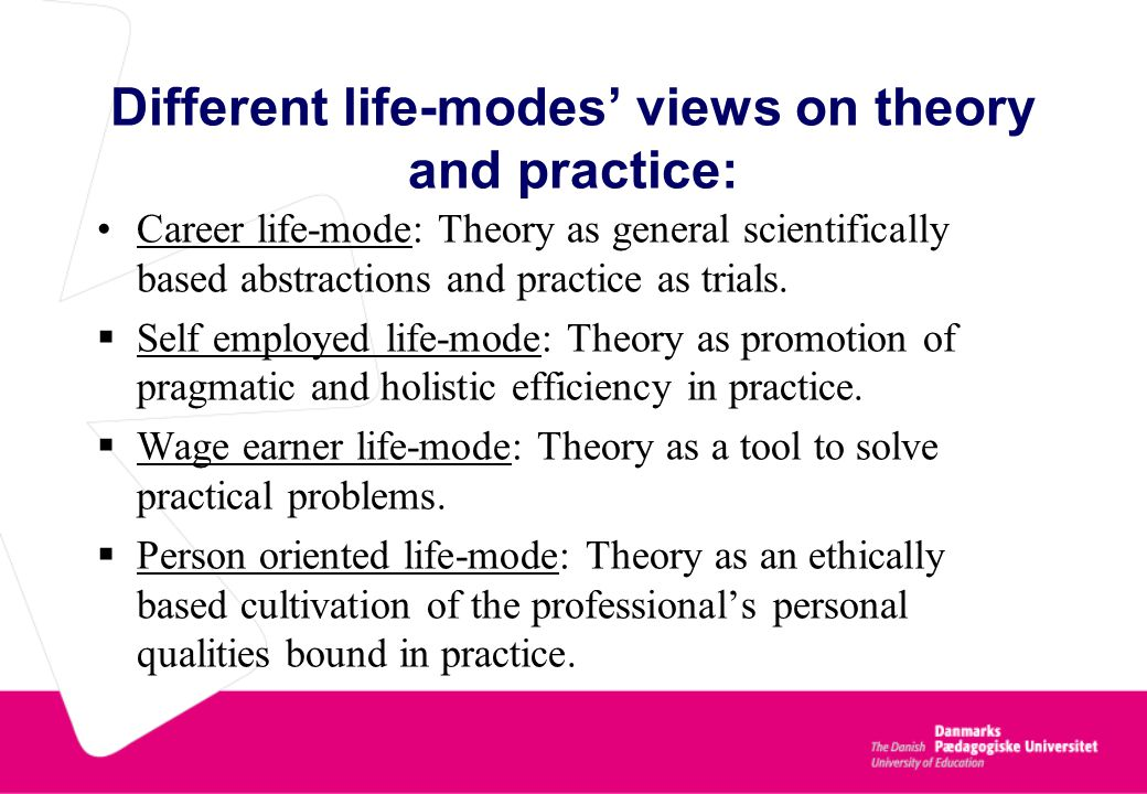 Different life-modes' views on theory and practice: Career life-mode: Theory as general scientifically based abstractions and practice as trials.