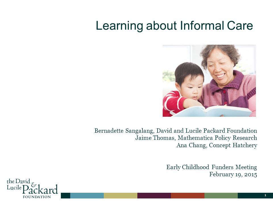 1 Title Only Layout Learning about Informal Care Bernadette Sangalang, David and Lucile Packard Foundation Jaime Thomas, Mathematica Policy Research Ana Chang, Concept Hatchery Early Childhood Funders Meeting February 19, 2015