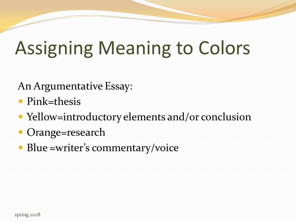 Assigning Meaning to Colors An Argumentative Essay: Pink=thesis Yellow=introductory elements and/or conclusion Orange=research Blue =writer's commentary/voice spring 2008