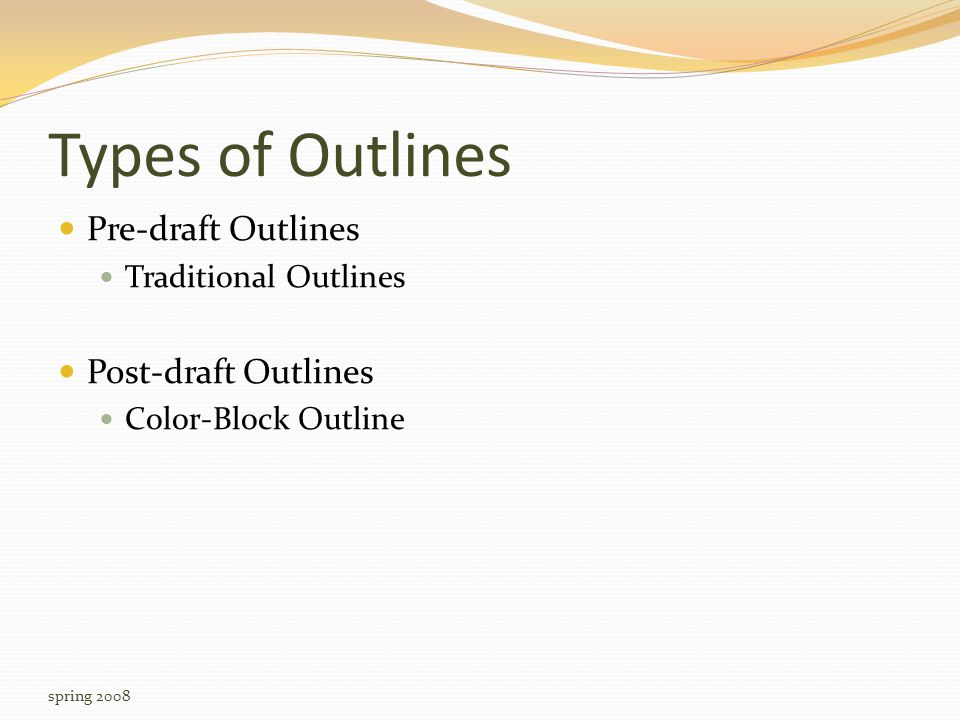 Type 1: Pre-Draft Outlining Questions to keep in mind while outlining What is the assignment.