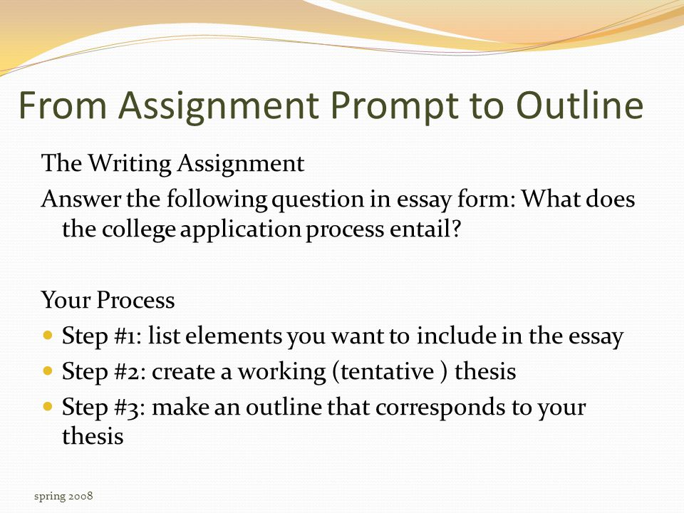 From Assignment Prompt to Outline The Writing Assignment Answer the following question in essay form: What does the college application process entail.