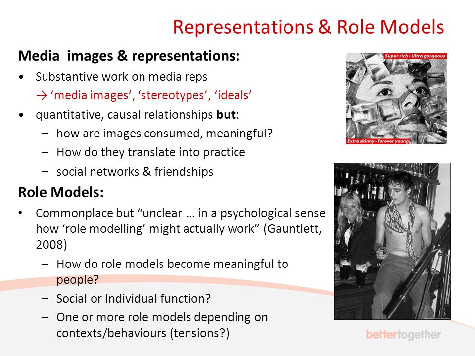 Representations & Role Models Media images & representations: Substantive work on media reps → 'media images', 'stereotypes', 'ideals' quantitative, causal relationships but: –how are images consumed, meaningful.