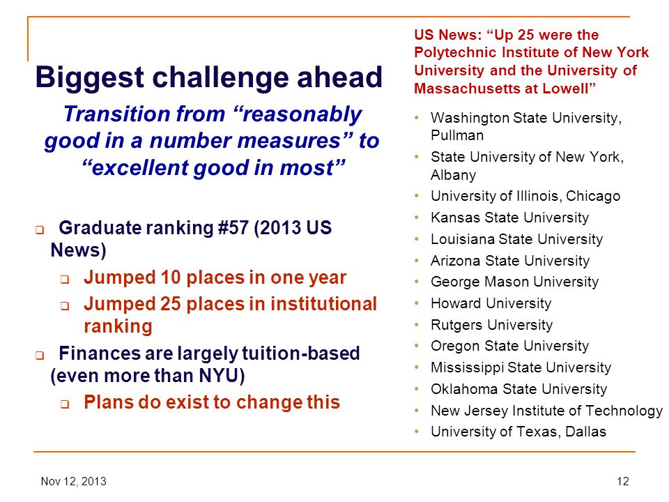 Nov 12, 201312 Biggest challenge ahead Transition from reasonably good in a number measures to excellent good in most  Graduate ranking #57 (2013 US News)  Jumped 10 places in one year  Jumped 25 places in institutional ranking  Finances are largely tuition-based (even more than NYU)  Plans do exist to change this US News: Up 25 were the Polytechnic Institute of New York University and the University of Massachusetts at Lowell Washington State University, Pullman State University of New York, Albany University of Illinois, Chicago Kansas State University Louisiana State University Arizona State University George Mason University Howard University Rutgers University Oregon State University Mississippi State University Oklahoma State University New Jersey Institute of Technology University of Texas, Dallas