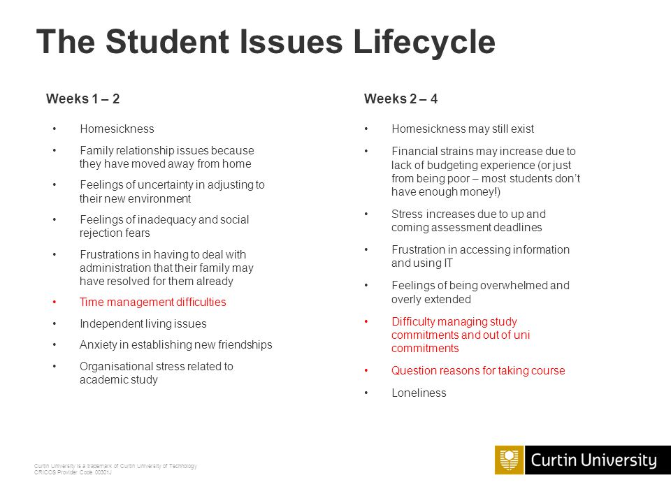 Curtin University is a trademark of Curtin University of Technology CRICOS Provider Code 00301J The Student Issues Lifecycle What sort of queries do y