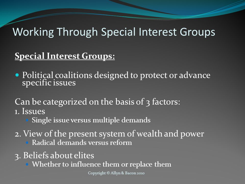 Copyright © Allyn & Bacon 2010 Working Through Special Interest Groups Special Interest Groups: Political coalitions designed to protect or advance specific issues Can be categorized on the basis of 3 factors: 1.