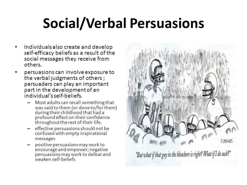 Social/Verbal Persuasions Individuals also create and develop self-efficacy beliefs as a result of the social messages they receive from others.