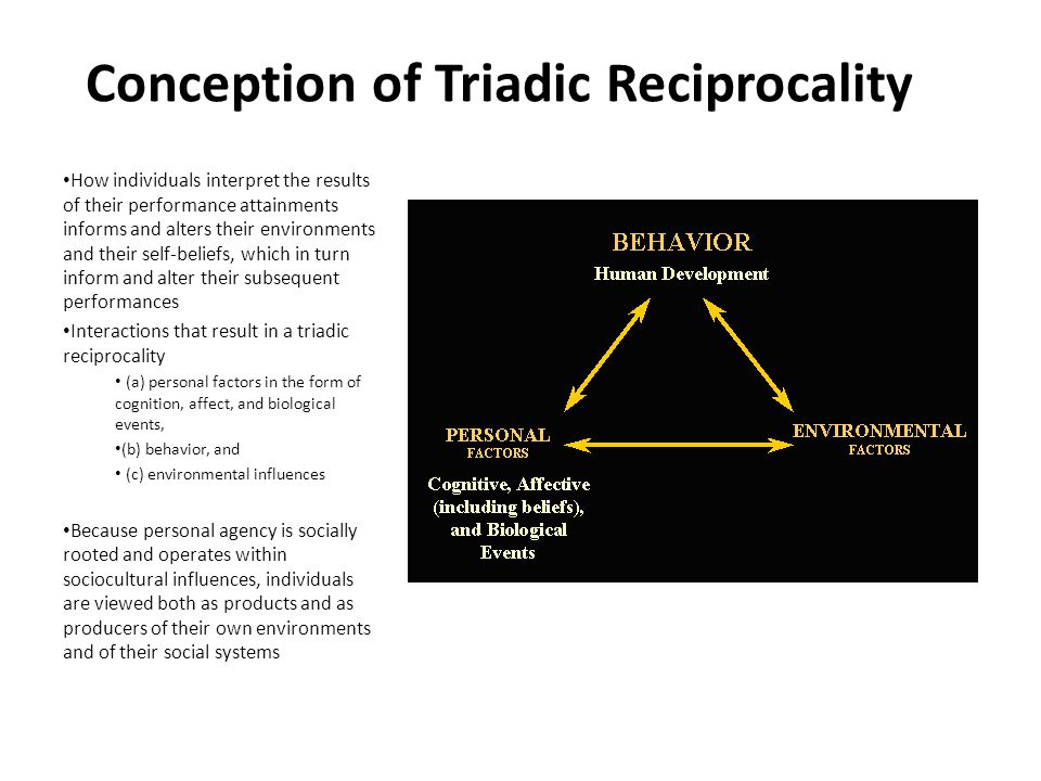 Conception of Triadic Reciprocality How individuals interpret the results of their performance attainments informs and alters their environments and their self-beliefs, which in turn inform and alter their subsequent performances Interactions that result in a triadic reciprocality (a) personal factors in the form of cognition, affect, and biological events, (b) behavior, and (c) environmental influences Because personal agency is socially rooted and operates within sociocultural influences, individuals are viewed both as products and as producers of their own environments and of their social systems