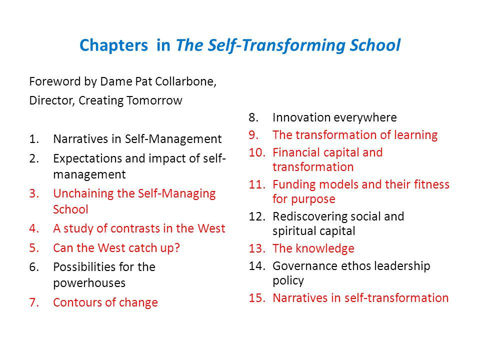 Chapters in The Self-Transforming School Foreword by Dame Pat Collarbone, Director, Creating Tomorrow 1.Narratives in Self-Management 2.Expectations and impact of self- management 3.Unchaining the Self-Managing School 4.A study of contrasts in the West 5.Can the West catch up.