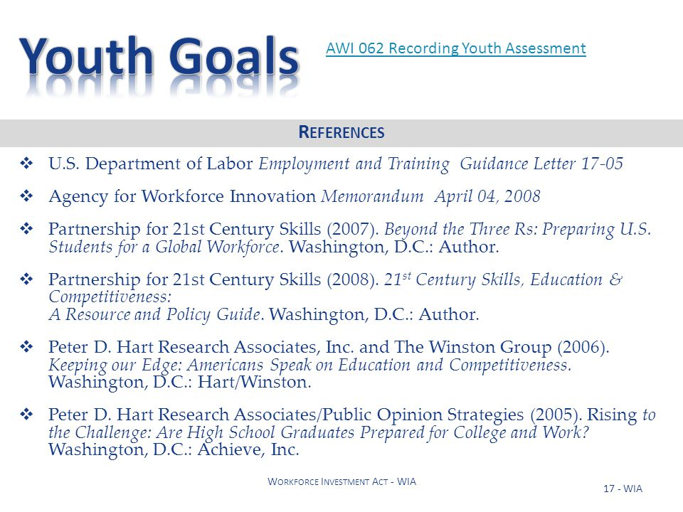 17 - WIA W ORKFORCE I NVESTMENT A CT - WIA  U.S. Department of Labor Employment and Training Guidance Letter 17-05  Agency for Workforce Innovation