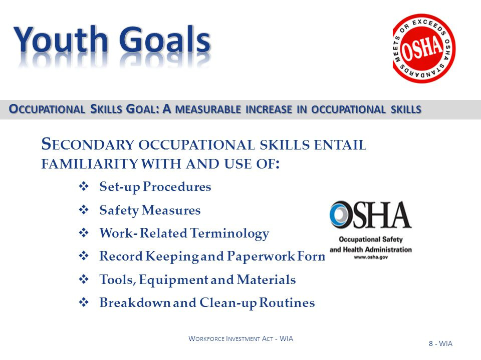 9 - WIA W ORKFORCE I NVESTMENT A CT - WIA 1.The job for which training is needed is within the youth's chosen occupational field 2.