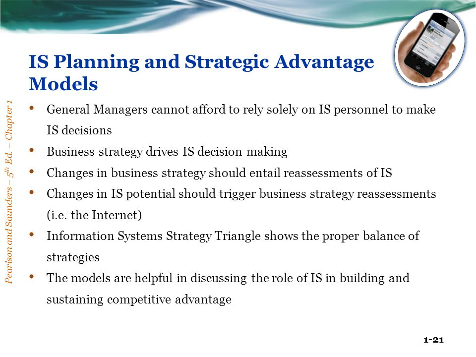 Pearlson and Saunders – 5 th Ed. – Chapter 1 1-21 IS Planning and Strategic Advantage Models General Managers cannot afford to rely solely on IS perso