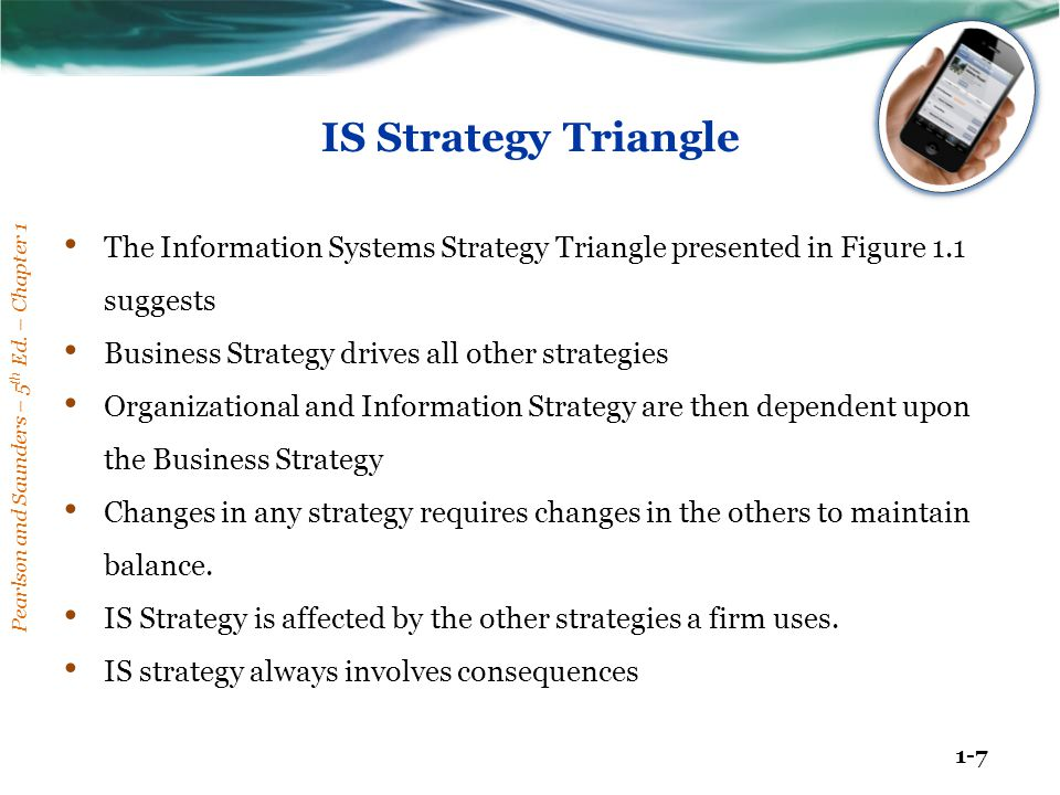 Pearlson and Saunders – 5 th Ed. – Chapter 1 1-7 IS Strategy Triangle The Information Systems Strategy Triangle presented in Figure 1.1 suggests Busin