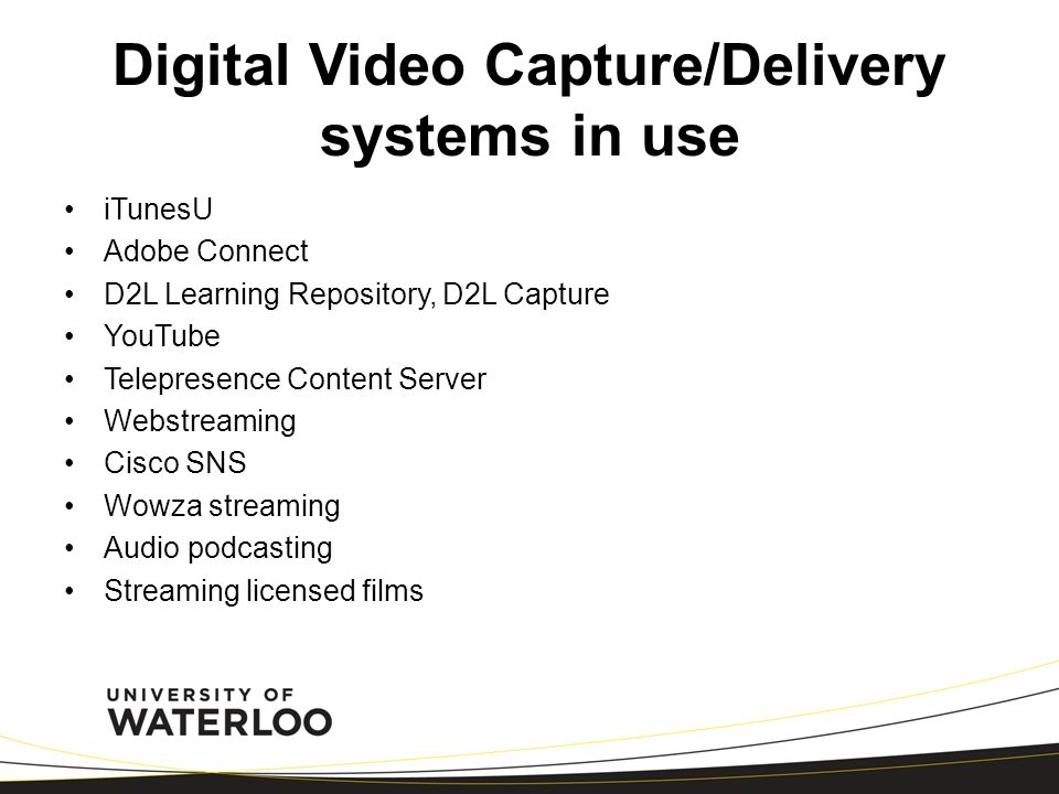 Digital Video Capture/Delivery systems in use iTunesU Adobe Connect D2L Learning Repository, D2L Capture YouTube Telepresence Content Server Webstream